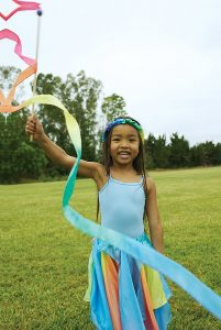 playground girl loves her silk streamer