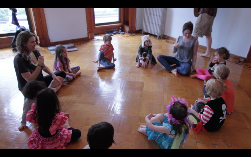 Circle time with kids in theater class with Child's Play NY